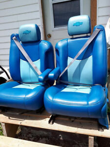 2 BLUE LEATHER BUCKET SEATS FOR A CHEV HALF TONE