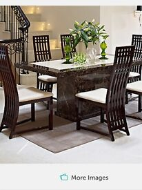 Harvey's Marble Italian Dining Table & Master Six Chairs