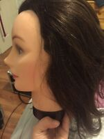 brunette mannequin head with stand for sale