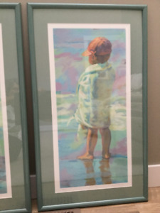 Framed pictures - children at beach theme