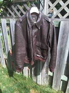 Blouson cuir brun pilote US pilot brown leather jacket