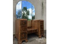 Vintage dressing table walnut mirror shabby chic can deliver