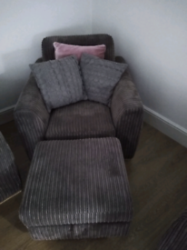 Grey Armchair and pouffe