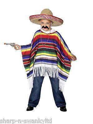 ragazze ragazzi bambini per bambini bandito messicano Poncho Vestito Accessorio