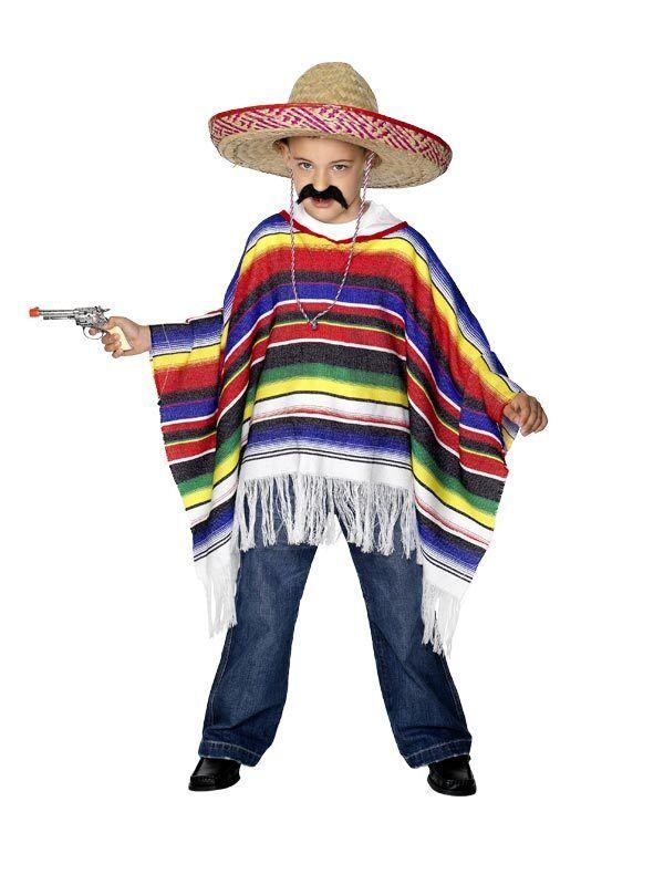 Nuovo Poncho Messicano per Bambini Ragazzi Ragazze Costume