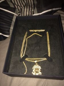 10k gold diamond cut franco chain and pendant and mens ring