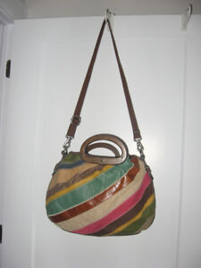 Fossil Kristy Leather & Canvas Patchwork Purse