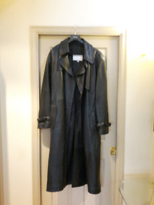 MEN'S BLACK LEATHER COAT FOR BIG AND TALL