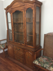 Dining room set; six chairs, table, buffet and hutch