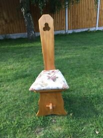 Lovely solid pine ornate chair