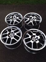 "Four 18"" Mustang GT500 style chrome rims"