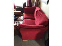 Free three seater sofa settee couch red