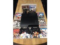 Playstation 3 Slimline 160gb Bundle 10 Games 2 Dualshock Pads Excellent Condition