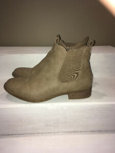 Tan faux leather booties