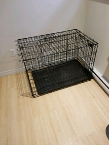 36in Double Door Top Paw Folding Crate