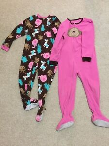 2 Girls' size 5T footed pyjamas