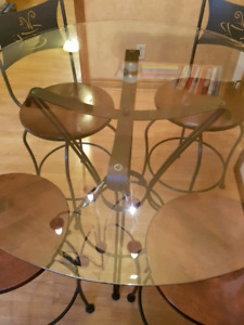 Glass and wood table set