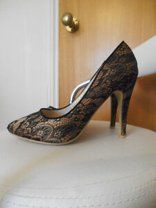 Gold/black lace high heels