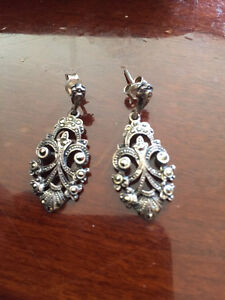 Sterling Silver Marcasite Earrings with Beautiful Design
