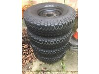 Land Rover Defender steel wheels and tyres