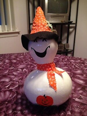 Hand Painted & Decorated Halloween Ghost Witch Gourd Centerpiece Display Decor - Halloween Gourds