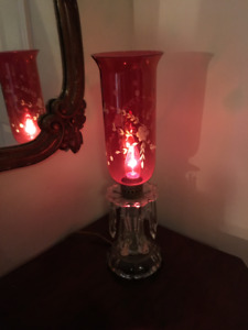 Antique Cranberry Hurricane Light