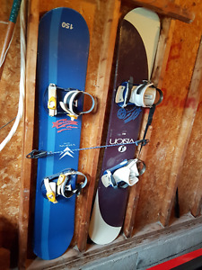 2 SETS OF SNOWBOARDS, BINDINGS AND BOOTS