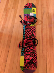 Bright snowboard + bindings + boots for 9-12 years old kid