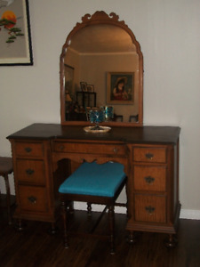 Refinished ANTIQUE VANITY with Stool and Mirror