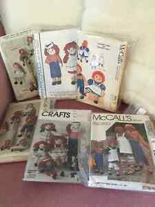 Lot of 6 McCall's Raggedy Anne & Andy Doll/Costume Patterns