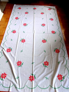 """HUGE Christmas Tablecloth // 57"""" X 98"""" // Embroidered poinsettia"""