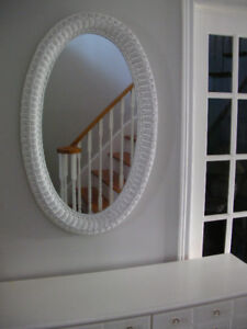 Gorgeous Large Oval, Bevelled Glass, White Wicker Mirror