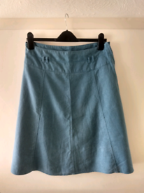Teal linen mix skirt