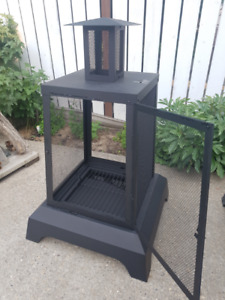 New, unused outdoor fireplace