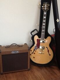 Epiphone / Gibson left handed acoustic electric guitar with amp