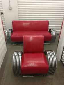 Vintage Red Leather Sofa Set with two Armchairs - $5000