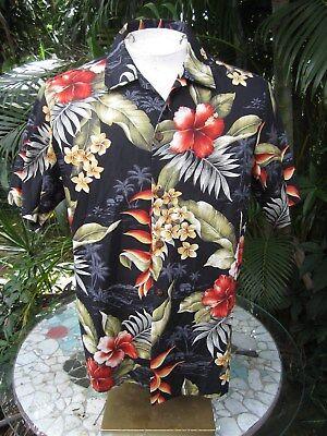 Hawaiian ALOHA shirt M 22 pit to pit BISHOP ST. cotton tropical floral colorful (Hawaiian Aloha Cotton Shirt)