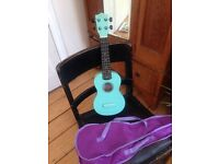 Turquoise Wooden Ukelele and bag