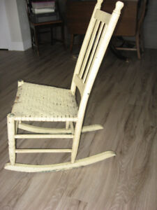 Primitive Rocking Chair with Woven Seat