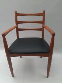 Vintage retro wooden carver chair armchair desk office black 60s