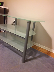 SILVER GLASS TV TABLE