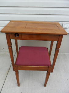 Vintage Wooden Sewing Table & Matching Stool & Chair