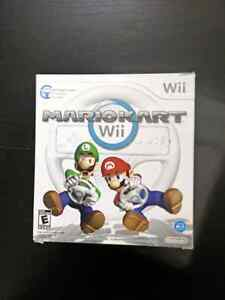Mario Kart Wii in  open big box ( Sealed game and wheel )
