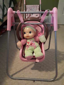 Graco Toy Stroller and baby swing, Antique toy High chair/Cradle
