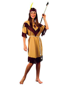 Ladies Red Indian Fancy Dress Costume Native Squaw Pocahontas Womens Size 10- 18