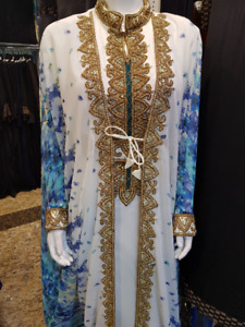 BLUE FLORAL PRINT WEDDING DRESS,KAFTAN,MOROCCAN CAFTAN,GOWN