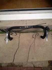 Shimano flightdeck gear levers 3x7 on Bontrager 42 cm drop handlebars