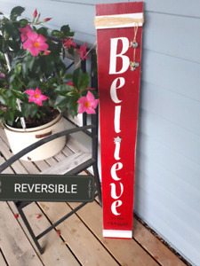 """Double Sided Handmade """"Welcome Fall and Believe """" Sign"""