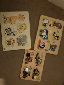 3 x wooden peg puzzles can post
