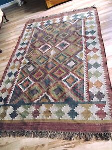 Burlap large area rug